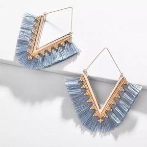 Fringed Tassel Drop Earrings Statement Blue Gold